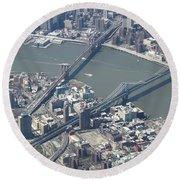 Manhattan And Brooklyn Bridge Round Beach Towel