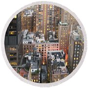 Manhattan At Dusk Round Beach Towel
