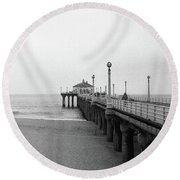 Manhattan Beach Pier On Film Round Beach Towel