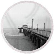 Manhattan Beach Pier On Film Round Beach Towel