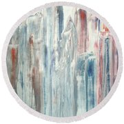 Round Beach Towel featuring the painting Manhattan by Bill OConnor