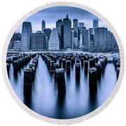 Round Beach Towel featuring the photograph Manhattan Blues by Chris Lord