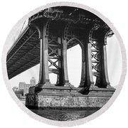 Manhattan Bridge, Afternoon Round Beach Towel