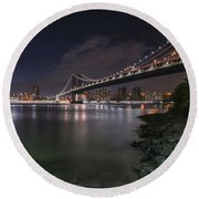 Manhattan Bridge Twinkles At Dusk Round Beach Towel