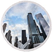Manhattan In New York City Round Beach Towel