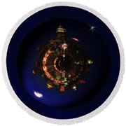 Manhattan Island Moonlight Round Beach Towel