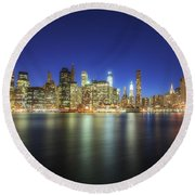 Manhattan Nite Lites Nyc Round Beach Towel by Yhun Suarez