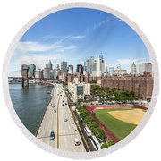 Manhattan On A Sunny Day Round Beach Towel