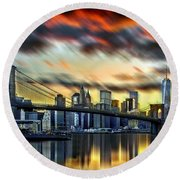 Manhattan Passion Round Beach Towel by Az Jackson