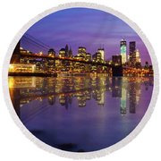 Round Beach Towel featuring the photograph Manhattan Reflection by Mircea Costina Photography