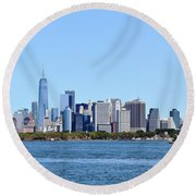 Manhattan Skyline 1 Round Beach Towel
