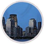Manhattan Skyline Round Beach Towel by John Haldane