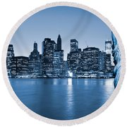 Manhattan Skyline Round Beach Towel by Luciano Mortula
