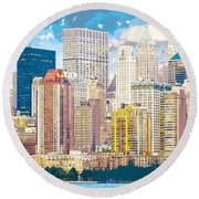 Manhattan Skyline New York City Round Beach Towel