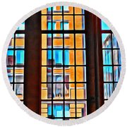 Manhattan Windows Round Beach Towel