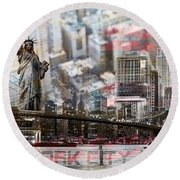Round Beach Towel featuring the photograph Manhatten From Above by Hannes Cmarits