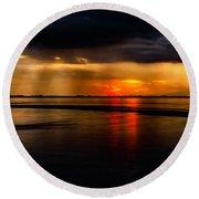 Manila Bay Sunset Round Beach Towel