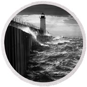Round Beach Towel featuring the photograph Manistee Pierhead Lighthouse by Fran Riley