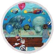 Manitee Aquarium With My Twins Round Beach Towel