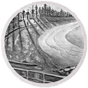 Manly Beach In Black And White Round Beach Towel