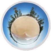 Manly Beach Tiny Planet Round Beach Towel