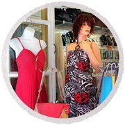 Mannequin With Stripped Flower Dress Round Beach Towel