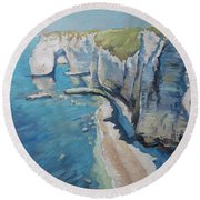 Manneport, The Cliffs At Etretat Round Beach Towel