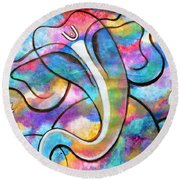 Manomay-ganesha  Round Beach Towel
