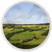 Round Beach Towel featuring the photograph Manors On A Hillside by Christi Kraft