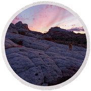 Man's Best Friend Sunset Round Beach Towel by Jonathan Davison