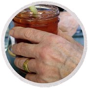 Mans Hand Holding Bloody Mary  Round Beach Towel by Beth Wolff