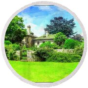 Mansion And Gardens At Harkness Park. Round Beach Towel