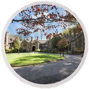 Mansion At Ridley Creek Round Beach Towel by Judy Wolinsky