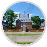 Round Beach Towel featuring the photograph Mansion by Eric Liller