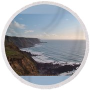 Mansley Cliff And Gull Rock From Longpeak Round Beach Towel