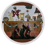 Mantel With Mask Round Beach Towel