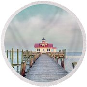 Manteo Lighthouse Round Beach Towel by Marion Johnson