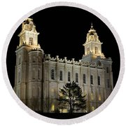 Manti Temple Night Round Beach Towel