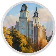 Manti Temple Tall Round Beach Towel