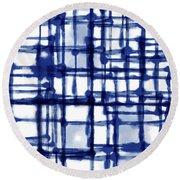 Mantra In Blue- Art By Linda Woods Round Beach Towel