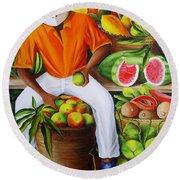Manuel The Caribbean Fruit Vendor  Round Beach Towel
