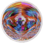 Round Beach Towel featuring the digital art Many Colors Of Love  by Annie Zeno