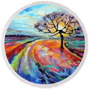 Round Beach Towel featuring the painting Many Paths, One Destination by Jodie Marie Anne Richardson Traugott          aka jm-ART