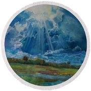 Round Beach Towel featuring the pastel Many The Miles by Robin Maria Pedrero