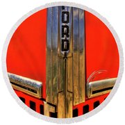 Manzanar Fire Truck Hood And Grill Detail Round Beach Towel