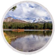 Round Beach Towel featuring the photograph Manzanita Lake - Mount Lassen by James Eddy