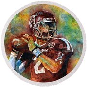 Manziel Round Beach Towel by Hailey E Herrera