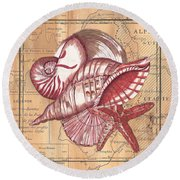 Map And Shells Round Beach Towel