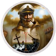 Map Captain 8 Round Beach Towel