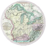 Map Of American Frontier And Great Lakes 1805 Round Beach Towel